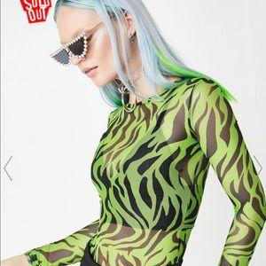 Mesh Neon Green Zebra Stripe Top